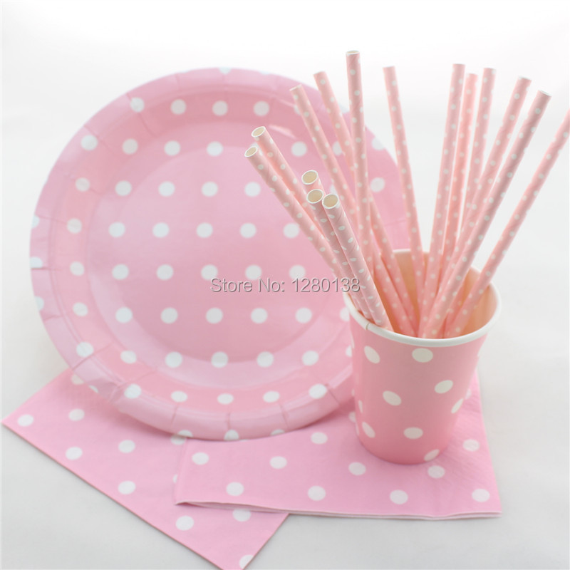 More Colors Disposable Tableware Polka Dot Design Party Paper Plates Coffee Cups Baby Shower Favor Paper Napkins Drinking Straws(China (Mainland))