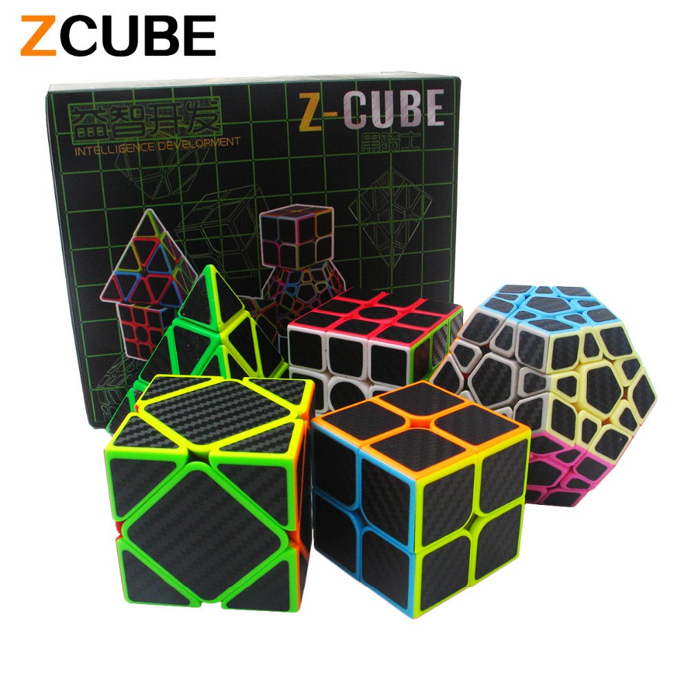 Zcube Set 5pcs /box Carbon Fiber Magic Cube Pyraminx & Dodecahedron & Axis Cube &2x2 Cube &3x3 Cube Speed Puzzle Toy Gift -48(China (Mainland))