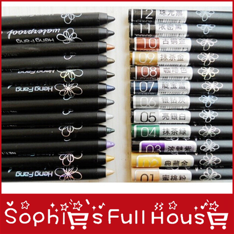 12colors high quality eyeliner pen eyeshadow pen cometic waterproof 100pcs/lot free shipping(China (Mainland))