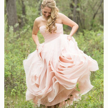 Hot Sale Off The Shoulder Strapless Wedding Dress Pink A-Line 2017 Tiered Organza Bridal Dresses Costume Made Plus Size Dresses(China (Mainland))