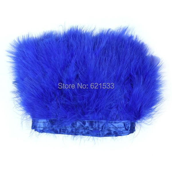 2 ярдов / серия - королевский синий индейки перья марабу отделка бахрома для платье вверх показать перо отделка