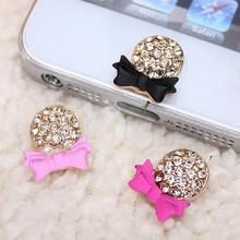 3D Crystal Bow Bling Decor Home Button Stickers For iPhone 4,4S,5,5C,5S,6,6S(China (Mainland))