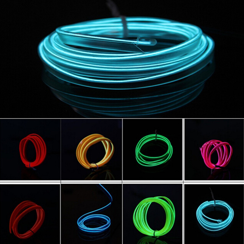 2M New Second Generation 10 Colors DIY Cold Tablets Lights LED Flexible Neon Glow EL Wire Rope Tube Decoration Lights(China (Mainland))