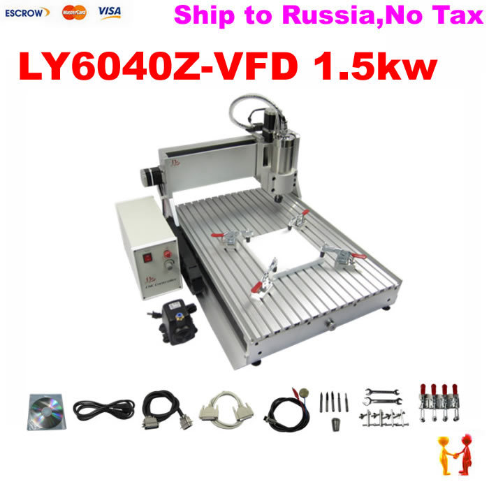 Russia no tax free ship! mini desktop cnc router 1500w Spindle 6040 3 Axis cnc milling machine for metal wood(China (Mainland))