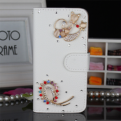 Fox Cat Pu Wallet Luxury flip phone case cover For Samsung Galaxy SII S2 I9100 Bling Diamond holder card socket(China (Mainland))