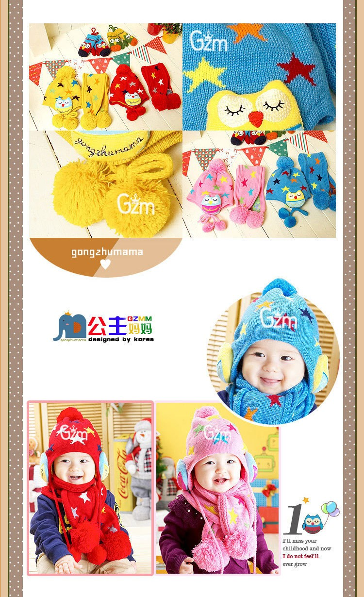 WENDYWU 2pc/set Baby Beanie Crochet Child Ear flap Kids Hat Scarf+Cap 2pc Five Pointed Star Hat Gift Winter Knitted Scarf Hats