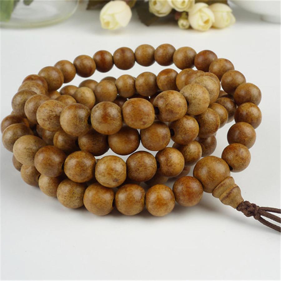 Women Men Fashion Jewelry Stretch Bracelet Bless You 9mm 108 Beads Agarwood Aloeswood Budda Wood Prayer Round Bead Bracelet(China (Mainland))