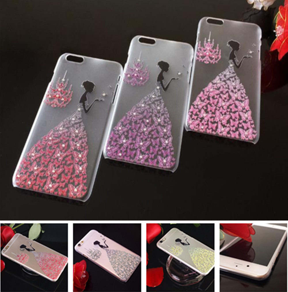 "New Arrival Hot Selling Bling Crystal Girls Diamond Matte Clear Skin Back Cover Protector For iPhone 6 4.7"" /6 PLUS 5.5"" EC534(China (Mainland))"