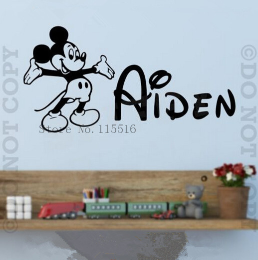 Baby Mickey Mouse personalized custom English name for kids room Nursery bedroom DIY poster paper wall stickers home decor(China (Mainland))