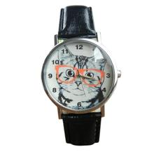Newly Design Cute Wearing Glasses Cat Watch Fashion PU Leather Quartz Wrist Watches Sep17