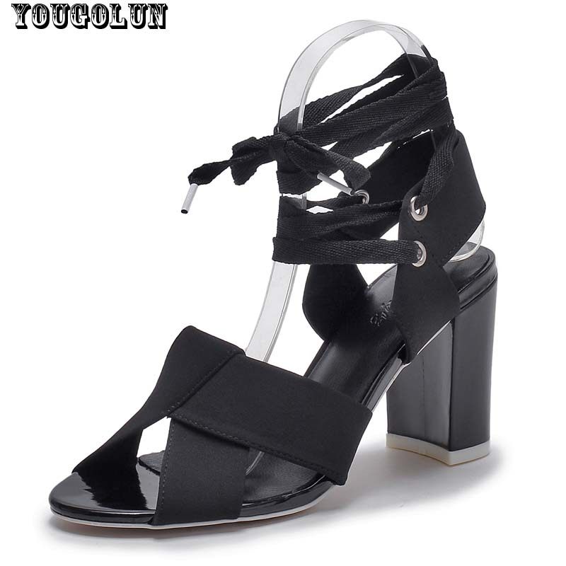 Summer Ankle Strap Sandals Women Sexy High Heels(9cm) Sandal Ladies Thick Heel Party  Shoes Woman White Black Cross Strap Shoes<br><br>Aliexpress