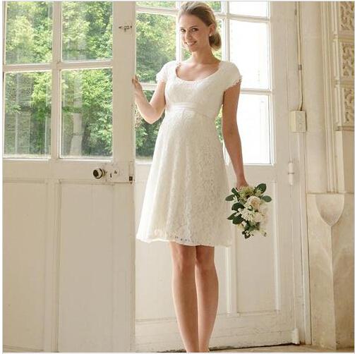 White Short Maternity Wedding Dresses