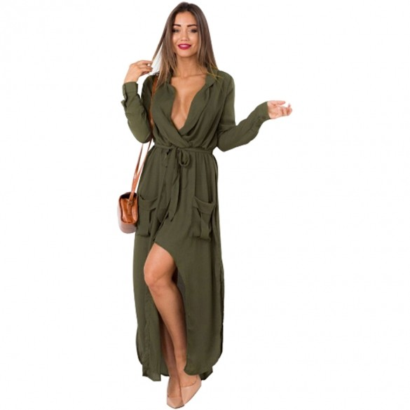 Excellent ! 2015 Summer Style Women Dress Fashion Long Sleeve Side Split V-neck Long Maxi Chiffon Dress S-XL 30Одежда и ак�е��уары<br><br><br>Aliexpress