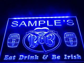 DZ002- Name Personalized Custom Irish Pub Shamrock Bar Beer  LED Neon Light Sign