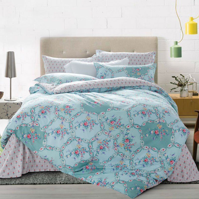 high quality cotton linens fresh style floral border print sheets sets gray green bedding sets Queen Double size comforter set(China (Mainland))