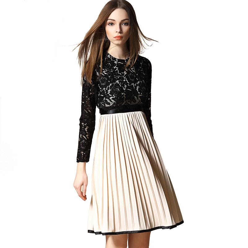 Long Sleeve Lace Chiffon Patchwork Pleated Dresses For Women 2016 Spring New O-Neck Knee Length Dress Vestido De Renda 1785