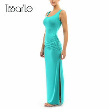 Buy TissarLG Women Summer Long Classic Dress O-neck Slim pleated Casual sleeveless tank dress Solid Colors Package hip slit dress for $8.90 in AliExpress store