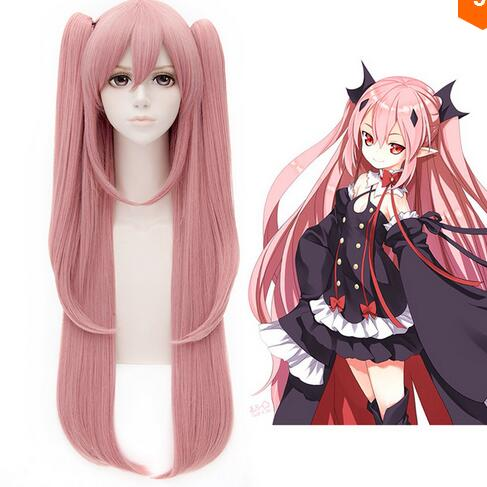Seraph of the end Krul Tepes Long + 2 Ponytails Pink Cosplay Wig + Free Wig Cap Free Shipping(China (Mainland))