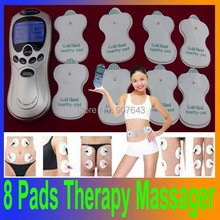 HOT Tens Acupuncture Digital Therapy Machine Massager +Four fastener Electrod wire+4 pads with English Retail box
