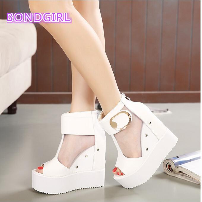 2016 Sexy high heels shoes women white gauze ankle bootie summer peep toe platform wedge wedding size 34 39 - Bond girl store
