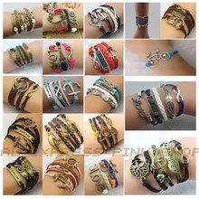 New Girl Jewelry Vintage Braided Anchors Rudder Metal Leather Bracelet Multilayer Rope Bracelets Wrap Bracelets Wholesale Bangle(China (Mainland))