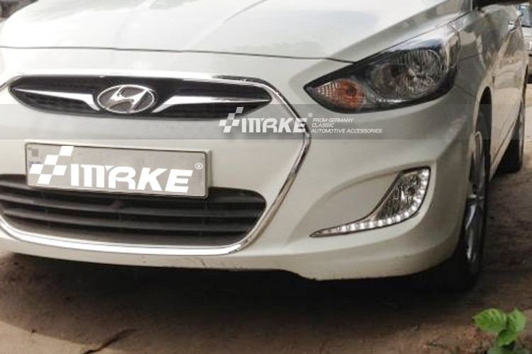 New arrival 13 Osram chips 2010-2013 Hyundai Accent Solaris Verna Led drl daytime running light top quality wireless control(China (Mainland))