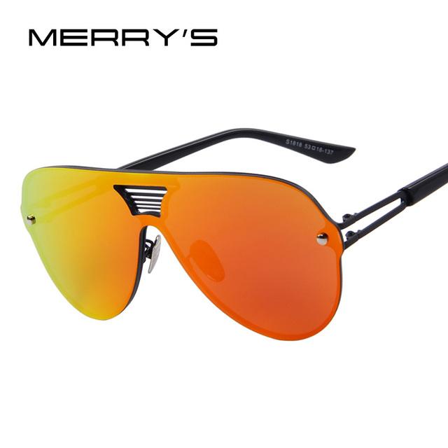 MERRY'S Моды Летние Мужчины Зеркало Солнцезащитные Очки Женщин Бренд Дизайн Большой ...