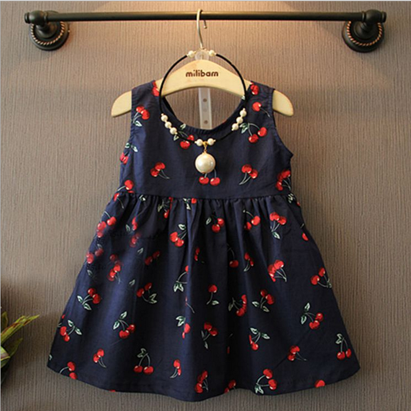 Baby Girl Dress Cotton Sleeveless Vest Dresses Baby Frock Designs Tutu Dress Baby Printed Cherry Princess Baby Girls Dresses(China (Mainland))