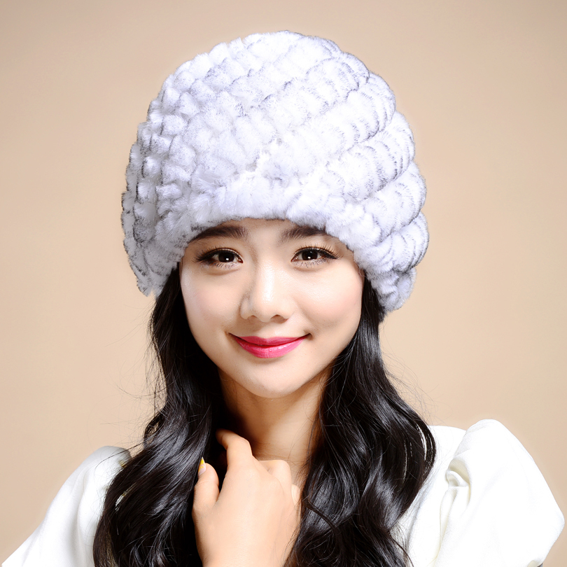 Russian Winter knitted fur Cap women's hat natural rex rabbit fur hats(China (Mainland))