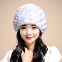 Russian Winter knitted fur Cap  women's hat natural rex rabbit fur hats(China (Mainland))