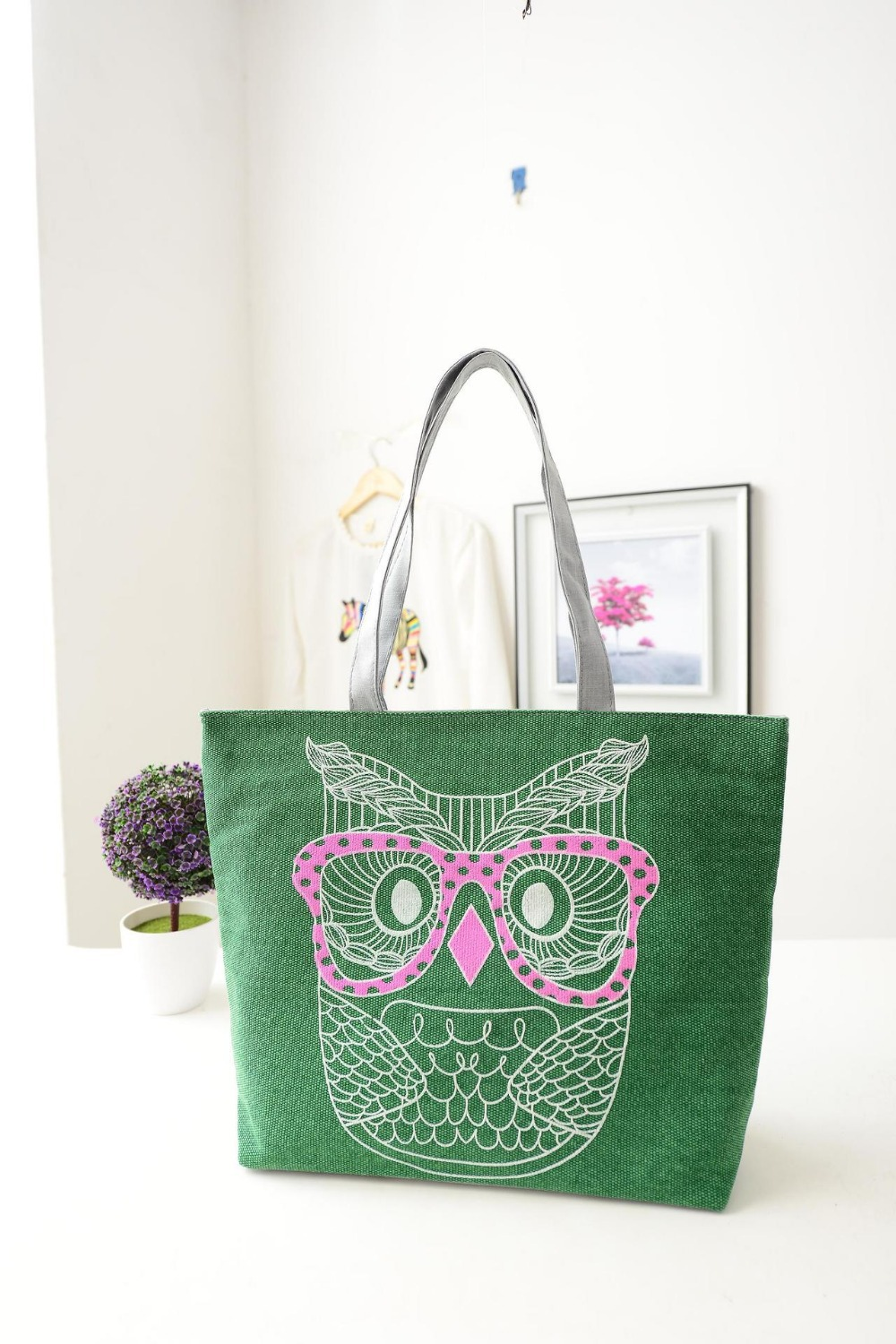 2014 brand designer owl printed women canvas bags large cotton school bag tote wholesale price TD-14(China (Mainland))