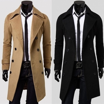 2015 winter British Style Trench Coat Men Long Double Breasted Men's Jackets Brand Outdoors Overcoat Black,Gray, Khaki Jacket(China (Mainland))