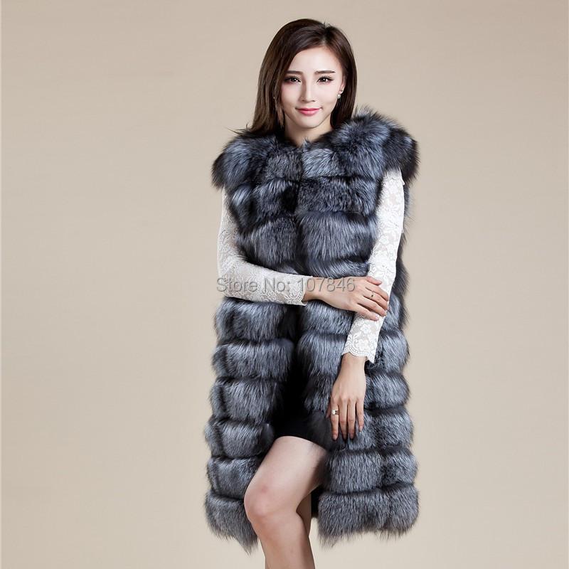 2016 Luxury Real Fox Fur Vest Waistcoat Autumn Winter Genuine Women Fur Gilet X-Long Outerwear Coats Overcoat 3XL 4XL VK3007