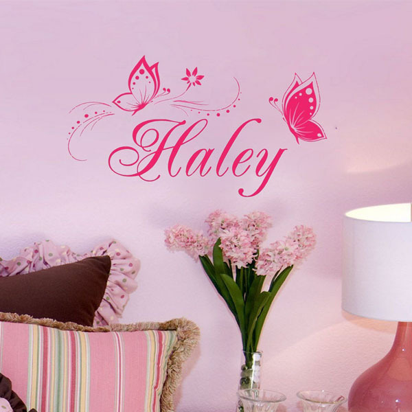 Personalized Custom Name Wall Decal Butterflies Vinyl Wall