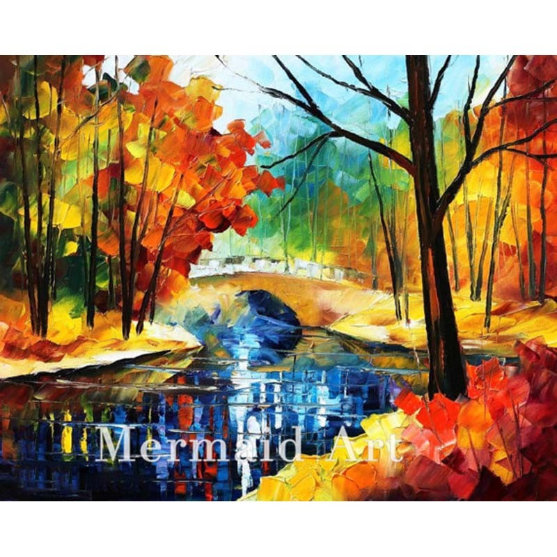 Buy Hand Painted Landscape Abstract Palette Knife Modern Bridge Over Stream Oil Painting Canvas Wall Living Room Artwork Fine Art cheap