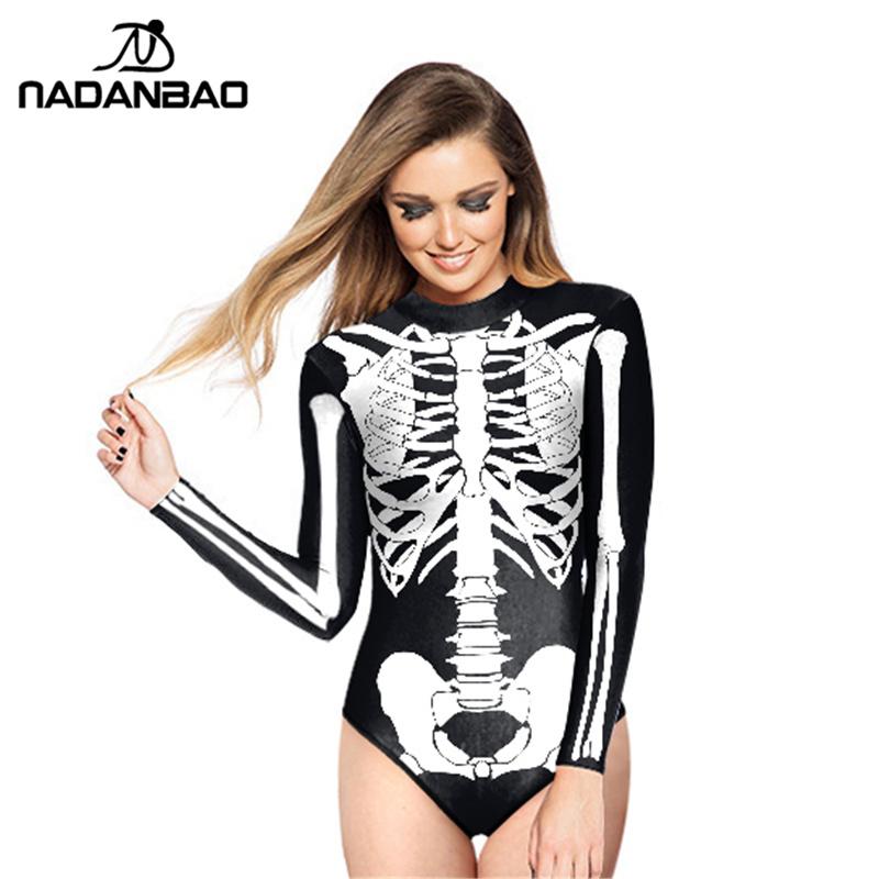 2016 Hot Style Loog Sleeve Zippered Surfing Bathing Suit White Skull Printed Women Swimwear One Piece Swimsuit Y02023(China (Mainland))