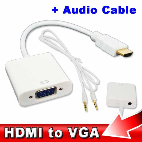 HDMI to VGA 3.5mm plug Audio Cable Adapter Converter Male to Female HDMI VGA Video adaptor HDTV CRT Monitor TV for XBOX 360 PS3(China (Mainland))