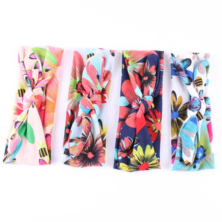 Baby Top Knot Headbands sunflowers hair band Infant toddler Turban Tie Knot Headwrap Hair Band Accessories 10pcs/lot(China (Mainland))
