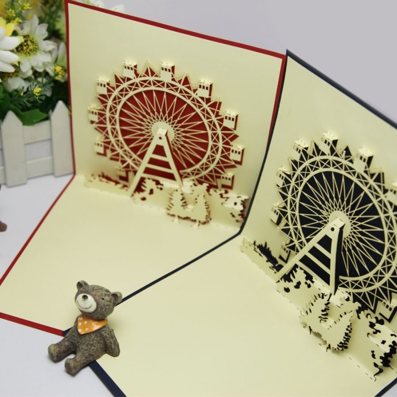 2014 New year romantic Valentine ferris wheel laser cut cards invitations 3d pop paper art cute gift cardswith envelope - Ivy trade company ltd store