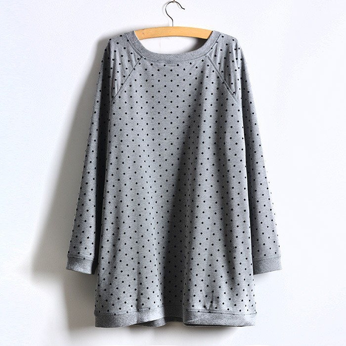 Большой размер женщин в горошек толстовка пуловеры большой размер большой размер одежды сверхразмерные 4XL 5XL 6XL XXXXL 2015 осень зима