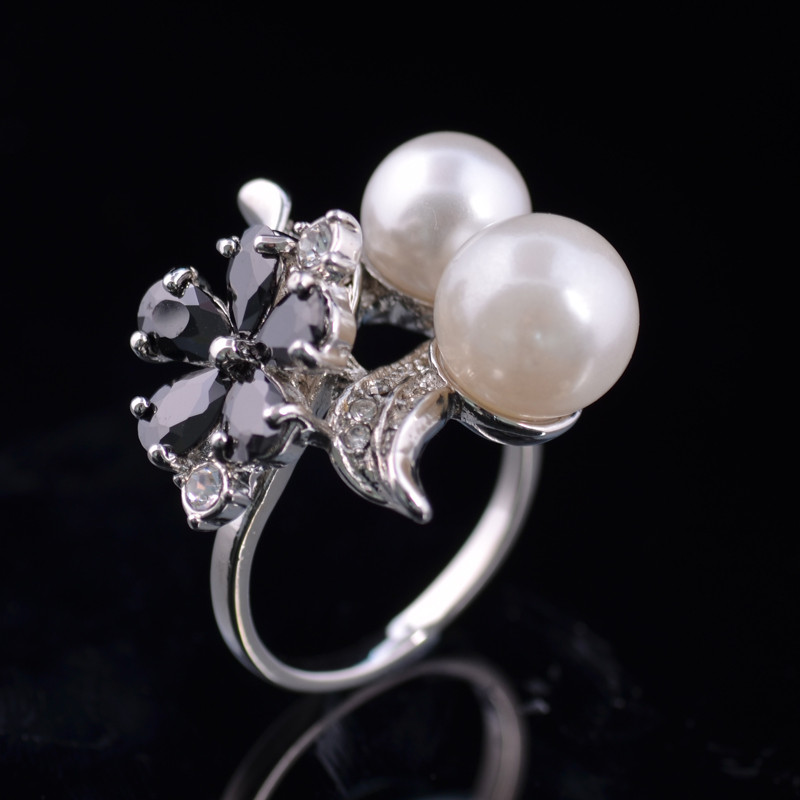 Copper Ring Platinum Plated Cubic Zirconia With Crystals And Flower Imitation Pearl Wedding Ring