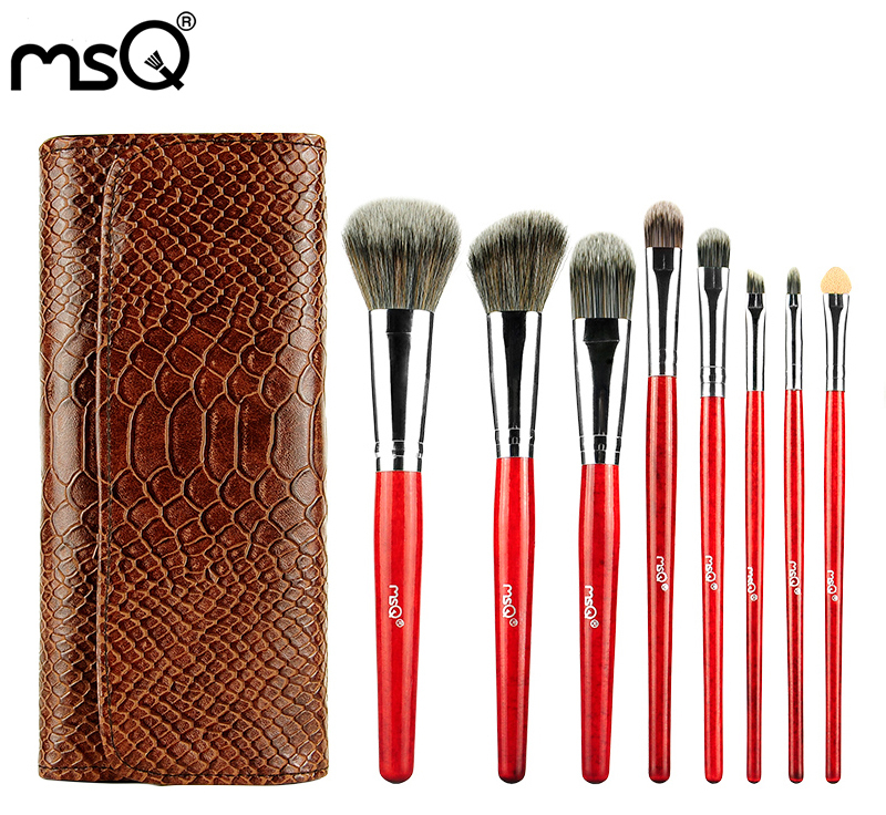 MSQ Top Quality Animal Hair Professional  8PCS Makeup Brush Set Comestic Brush Tool Kit With Alligator Pattern Leather Bag<br><br>Aliexpress