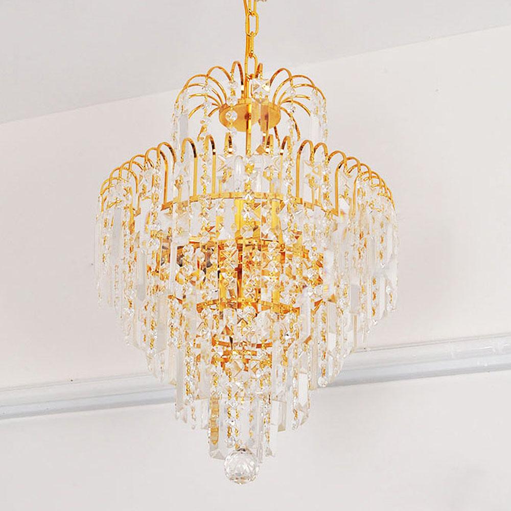 Luxury royal golden crystal chandelier diy crystal for Diy crystal chandelier lamp