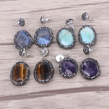 5Pairs Natural Amazon Labradorite Tiger Eye Purple Stone Earrings with Crystal Zircon Paved, Charm Jewelry Druzy Earrings(China (Mainland))