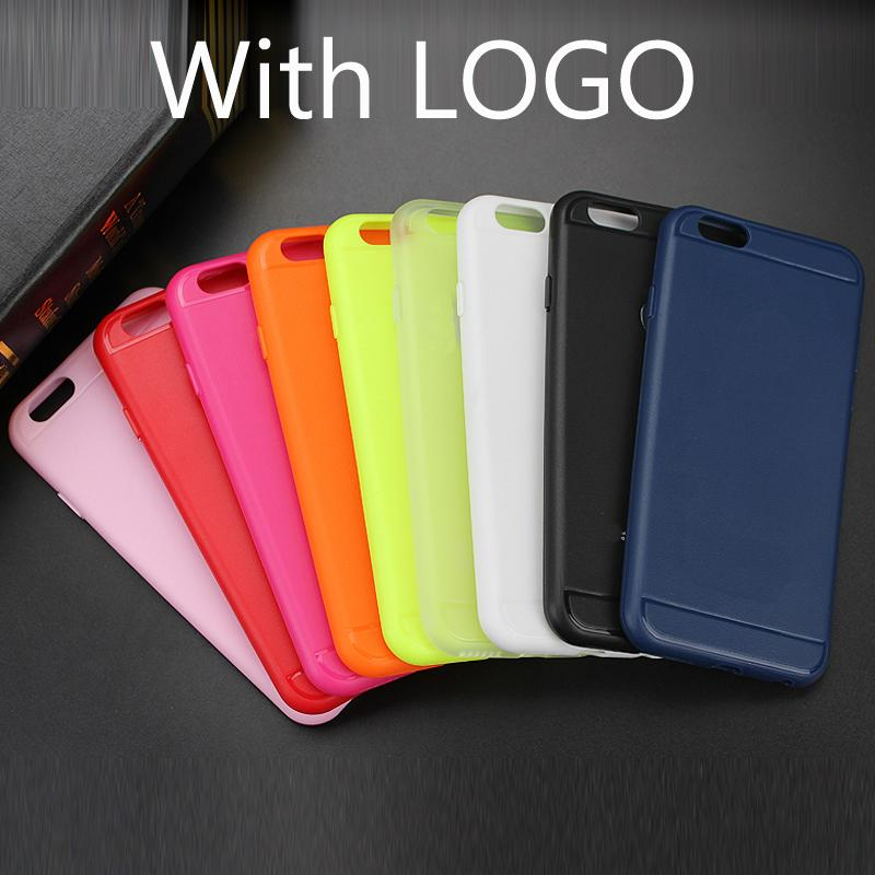 With Logo Ultra Thin Colorful JELLY TPU Gel Soft Silicone Case Rubber Cover For iPhone 6 6s 6 Plus Phone Case Protector Skin(China (Mainland))