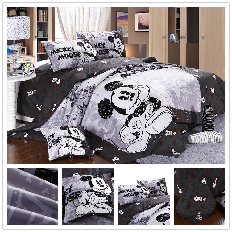 Twin full queen size character cotton white and black for Lit queen size