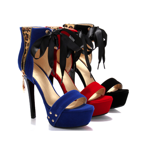 Size 40 43 Ladies High Heels Sandals Ankle Wrap Platform Stiletto Shoes Platform Rivets Bow Sexy Leopard Pumps Blue Red BAB-0B(China (Mainland))