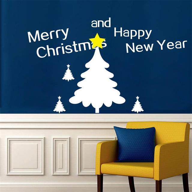 Рождеством дерево магазин оконные украшения дома декоративные наклейки надписи xmas66 с новым годом наклейки на стены