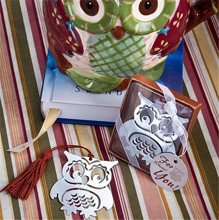 DHL free shipping 200pcs/lot Wedding Favors gifts Baby Owl Stainless Steel Bookmark with red tassel Baby Shower Souvenir(China (Mainland))