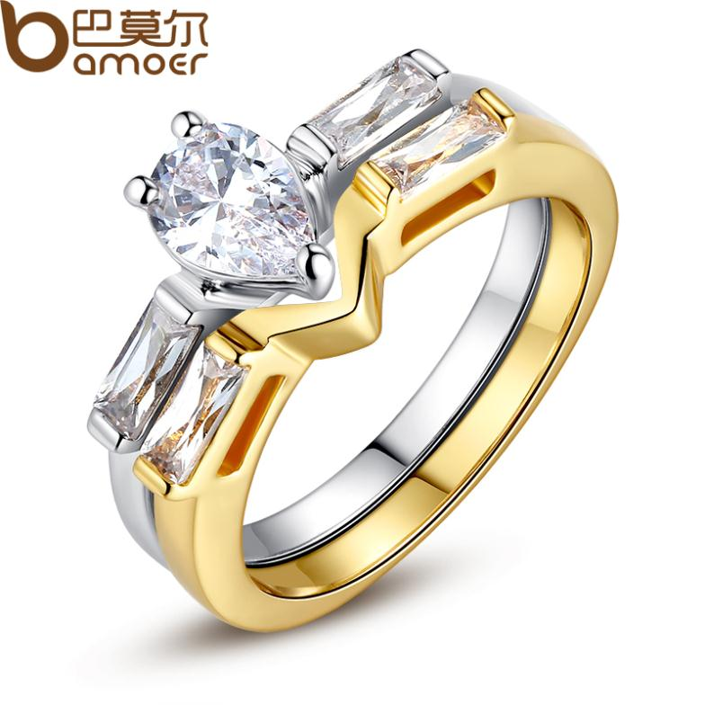 Bamoer Brand New Luxury 18K Gold Plated Finger Set Ring for Women Ladies with Cubic Zircon Crystal Jewelry Birthday Gift SDSR038(China (Mainland))